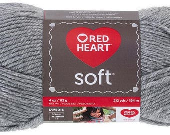 Red Heart Soft Yarn in Light Grey Heather Worsted Weight 4 Yarn