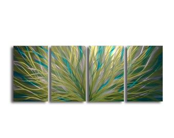Metal Wall Art Abstract Aluminum Sculpture Modern Decor - Radiance Cyan Chartreuse