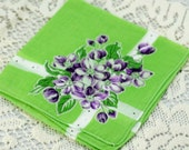 Vintage Hankie,  Bright Green with Purple Flowers #I-4