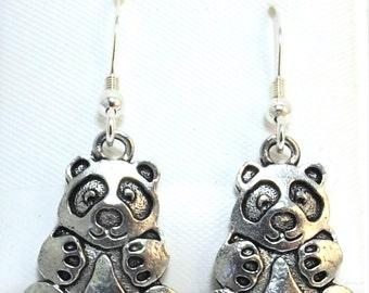 Pewter Panda Bear Charms on Sterling Silver Ear Wire Dangle Earrings - 5508
