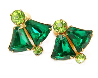 Emerald Peridot Green Earrings Screwback Midcentury 1950s Vintage Collectible Rhinestone Jewelry For Women Gift Ideas Green And Gold