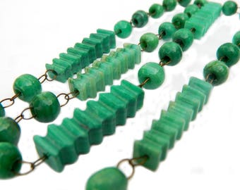 Chrysoprase Necklace Antique Green Carved Stone Bead 1900 Gemstone Turn Of The Century Unique Handmade Heirloom Jewelry Gift Idea For Her