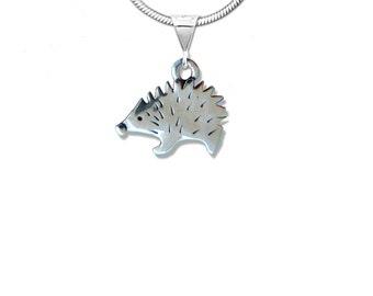 Sterling Silver Hedgehog Profile Pendant