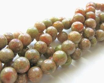 9mm Round Autumn Jasper Beads Gemstone Salmon Green