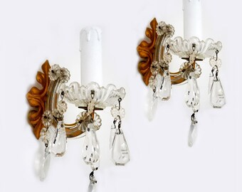 Vintage Venetian Crystal Wall Light Sconces, Italian Pair of Crystal Drops Sconces,Maria Theresa Style Crystal Wall Lights