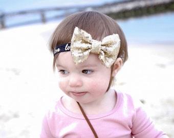 Sequin Bow Headband, Love Headband, Gold Sequin Headband, Floppy Bow Headband, Big Bow Headband, Infant Headbands, Newborn Props