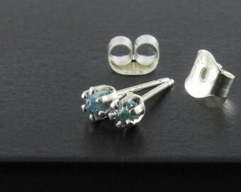 Tiny Raw Diamond Stud Earring - 2mm Sterling Silver Posts - Rare Blue Rough Uncut Diamonds - Rough Diamonds - April Birthstone