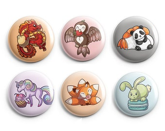 Adorable Animals and Foods Pinback Buttons, Dumpling Dragon, Strawberry Owl, Sushi Panda, Cupcake Unicorn, Doughnut Fox, Macaroon Bunny