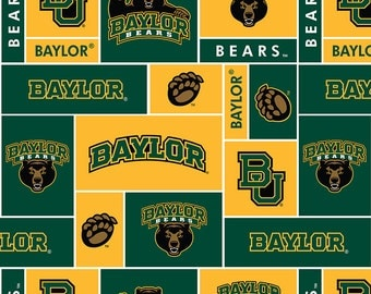 Licensed NCAA Baylor Bears Block Fleece Fabric 60'' Wide Sold By The Yard