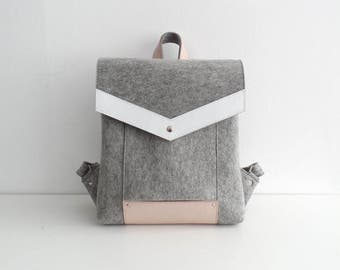 Gray White Pink Wool Felt Genuine Leather Backpack