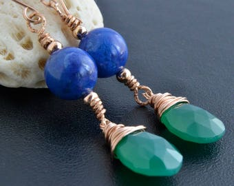 Lapis Lazuli and Green Onyx Earrings, 14K Rose Gold Filled, Rose Gold Jewelry, Onyx Dangle, , Handmade, Blue and Green Gemstones