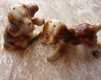 Vintage Spaniel Porcelain Salt & Pepper Shakers