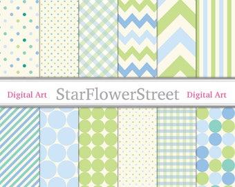 Baby Digital Paper Blue Green cream patterned baby boy scrapbook background -- gingham dot chevron patterns boy 90 -- Instant Download