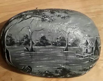 Rock featuring bayou scene