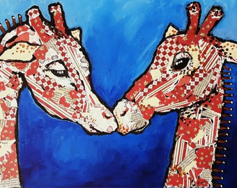 "Original mixed media canvas painting ,giraffe,fun,love,lovers, ""LUV"""
