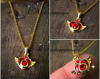Sailor Moon Inspired Necklace - Sailor Moon Compact Necklace - 14k gold plated - Swarovski strass - Pretty Guardian - Usagi