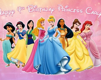 Disney Princess Themed Backdrop- .JPEG File via Email Delivery - You Print Your Own