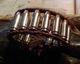 Leather Bullet Bracelet .40 Caliber S&W Copper Nickel with Black Pearls - Men's or Women's Large Bracelet