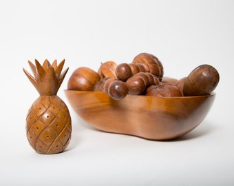 Monkey Pod Wood Fruit Bowl Hand Carved 1960s Mid Century Decor Pineapple Starfruit Grape and More