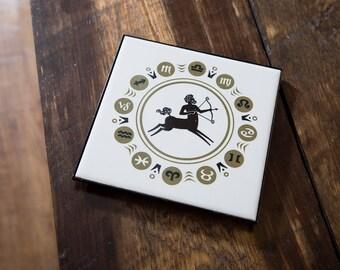 Zodiac Trivet Ceramic 1970s Hot Plate Ceramic Tile Astrology Signs