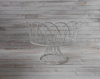 Wire Basket - Vintage White Wire Basket - Pedestal Wire Basket - Cottage Wire Basket - Tabletop Wire Basket - Farmhouse Decor-Cottage Shabby