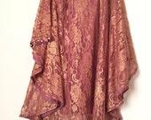 Maria B lace cape dress, net poncho, 2-pc, lace cape, pakistani clothing, terra-cotta