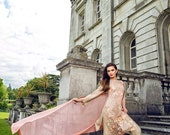 50% Off Sale- Sobia Nazir luxury chiffon collection, powder pink and beige shalwar kameez, pakistani clothes