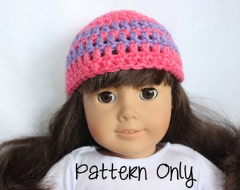 18 Inch Doll Hat Crochet Pattern - Striped Doll Hat Crochet Pattern - Doll Hat Pattern