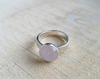 Rose Quartz Ring Gemstone Ring Birthstone Ring Statement Ring Pink Ring Silver Ring