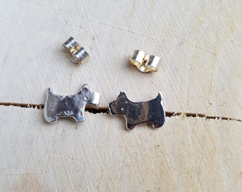 Silver Terrier Stud Earrings Dog Jewellery Stud Silver