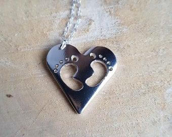 Baby Footprint Pendant New Mum Pendant Baby Name Necklace Baby Feet Jewellery Mothers Gift