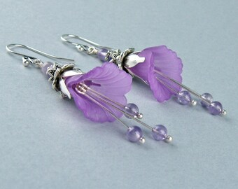 Dangle Earrings, Amethyst Crystals, Semi Precious Stones, Lilies, Purple, Lavender, Lucite Flower Beads, Silver Petals, Bohemian, Woodland