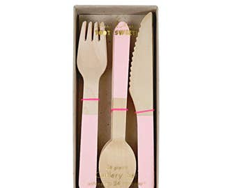 Wooden Cutlery Set - Light Pink - party first birthday wood pastel forks knives spoons