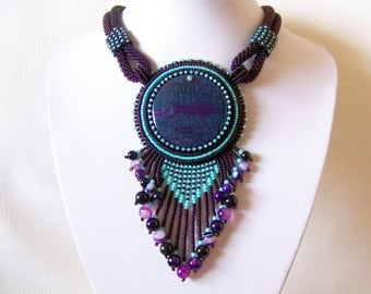Bead Embroidery Necklace Pendant Beadwork Necklace with Agate - MYSTICAL LIFE - purple and mint necklace - statement necklace