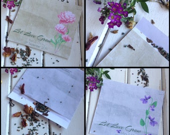 """SEED PACKET FAVOR Empty Wedding Favour """"Peonies"""" or """"Violets""""  Recycled Eco Friendly"""