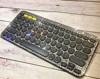 Bling keyboard- crystal computer keyboard- bling office accessories- custom keyboard- sparkly witeless keyboard- crystal computer-