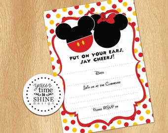 Mickey and Minnie Fill-in-the-Blanks DIGITAL Invitation - INSTANT DOWNLOAD