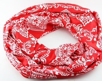 Red and White Floral Jersey Knit Infinity Scarf
