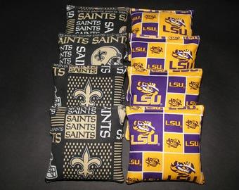 New Orleans SAINTS & LSU Tigers Set of 8  ACA Regulation Size Corn Hole Game Bean Bags