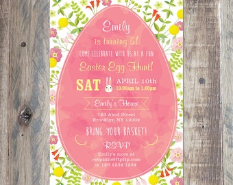 Custom Birthday Invitation - Easter Birthday Invitation - Egg Hunt Invite - Personalized With Your Party Details - Printable PDF or Jpeg