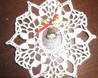 Crochet Snowflake with Miniature Juingle Bell Christmas Tree Ornament
