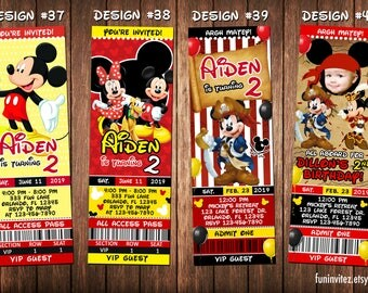 Mickey Mouse Clubhouse Classic Pirate Birthday Party Photo Ticket Invitations - Printable
