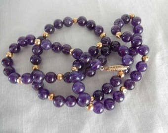 Amethyst Beads and 14K Gold Beads necklace