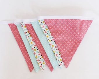 Garland flags girl fabrics in pink, green and yellow patterns geometric