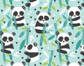 Bamboo Blue Panda Fabric/Maude Asbury for Blend/Cotton Sewing Material/Children's Quilting and Apparel/Fat Quarter, By The Yard, Yardage