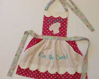 Toddler / Children Apron Personalized Handmade Embroidery Applique Fushia with White Polka Dot With Pockets Using Three Coordinating Fabrics