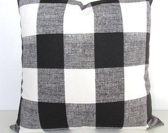BLACK Buffalo Check PILLOWS Black Pillow Covers Black Plaid Pillows 16 18x18 20  Black Check pillow Covers Home and Living