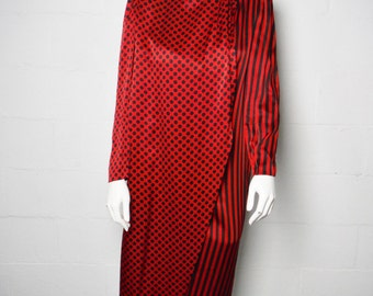 Vintage 80s ladies Anna Di Rossi Italy black & red polka dot striped silk long sleeved dress