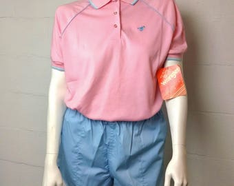 Vintage 80's Ladies Wrangler Outfit Polo Shirt & Shorts Set Pink And Blue Large