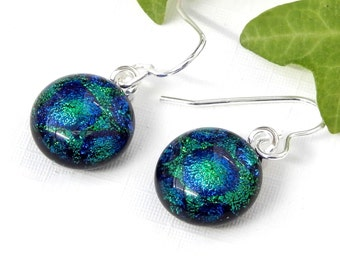 Rich Green and Blue Round Dichroic Glass Dangle Earrings on 925 Sterling Silver Earwires - Fused Glass Jewelry - Glass Drop Earrings